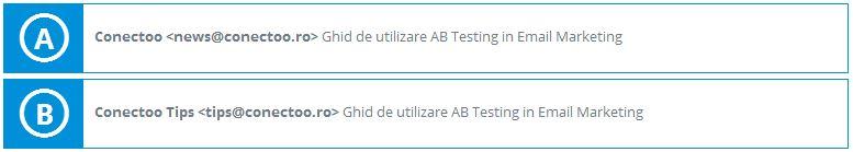 Testarea Expeditorului in AB Test Conectoo
